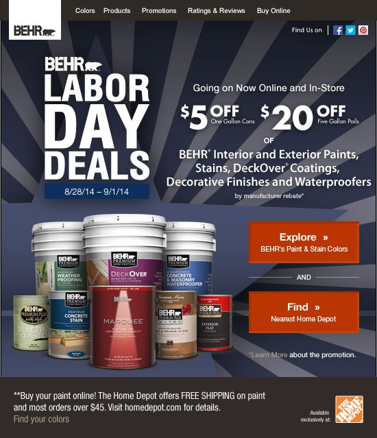 Behr: ☆ Going on Now: Labor Day Deals on All BEHR® Products