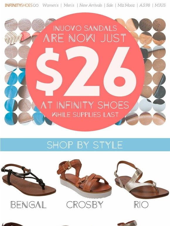 new concept 02e7c fe83e Infinity Shoes: Inuovo Sandals, Now Just $26 | Milled