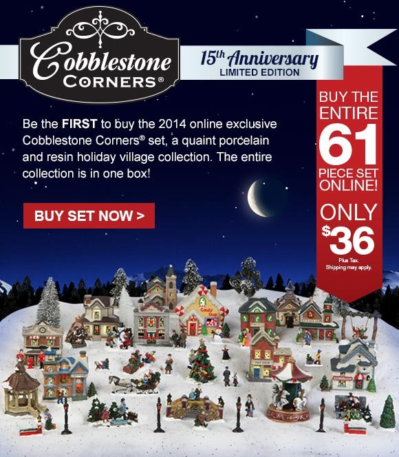 buy the entire 2014 cobblestone corners holiday village collection 61 pieces for just 36