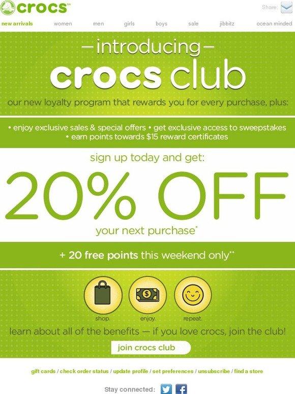 Crocs: Introducing Crocs Club: 20% off