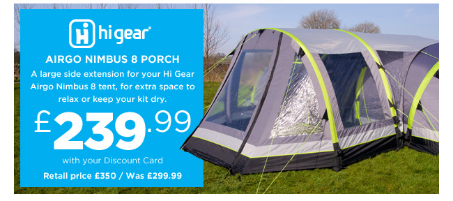 Hi Gear Nimbus 8 Porch  sc 1 st  Milled & Go Outdoors: Last chance to save u2013 20% off all Hi Gear Airgo tents ...