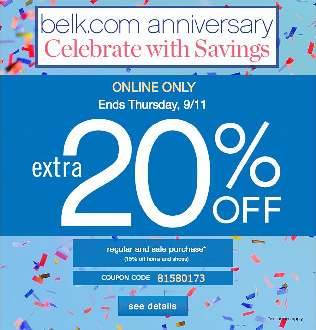 Find the best Belk coupons, promo codes & holiday deals for All codes guaranteed to work. Exclusive bonuses up to % back!