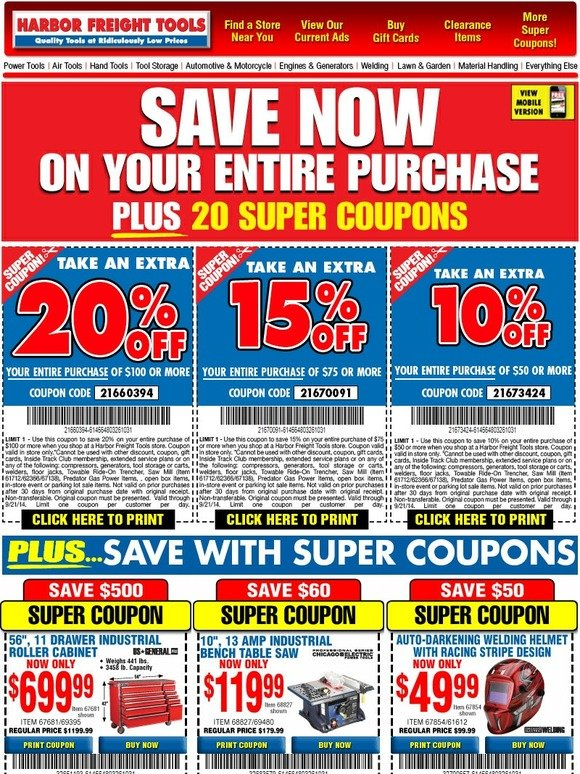 harbor freight extra 20 off everything you purchase new super coupons milled. Black Bedroom Furniture Sets. Home Design Ideas