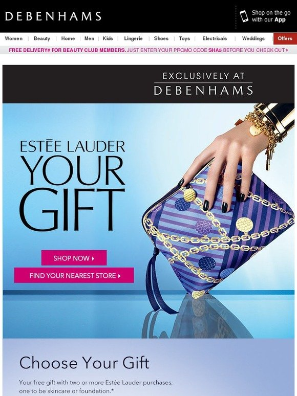 Debenhams: Your Free Gift with 2 or more Estee Lauder Purchases ...
