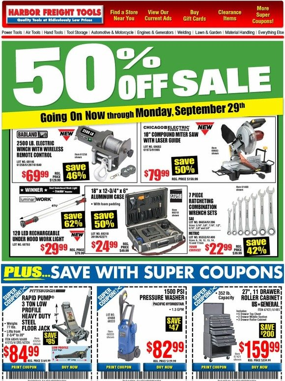 harbor freight 50 sale going on now plus save even more with 20 super coupons milled. Black Bedroom Furniture Sets. Home Design Ideas