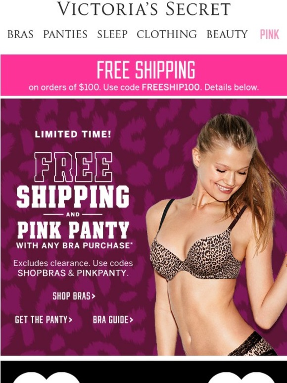 Victoria secret free panty with pink purchase