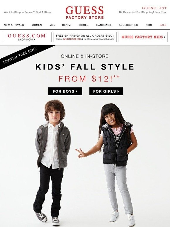 Guess Factory 12 Up Kids Fall Style Sale Milled
