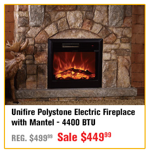 unifire polystone electric fireplace with mantel btu buy item now for