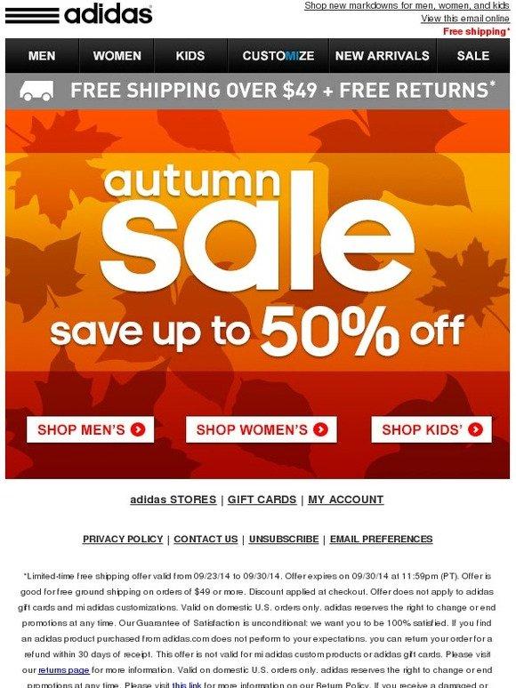Adidas: vendita autunnale: fino al 50%.8