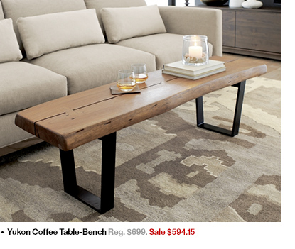 Acadia Accent Table, Yukon Coffee Table Bench