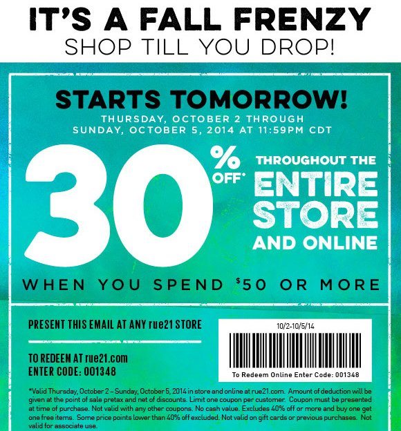 image relating to Rue 21 Coupons Printable identified as rue21: 30% Off Coupon For The Comprehensive Internet site Retailer. Hurray