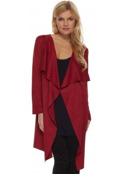 Berry Suedette Coat With Waterfall Front