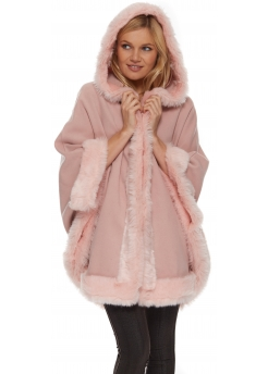 Fabulous Baby Pink Hooded Cape With Faux Fur Trim