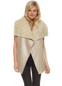 Faux Shearling Gold Shiney Leather Look Gilet