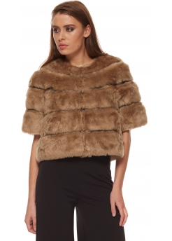 Pikkel Taupe Faux Fur Cropped Cape Coat