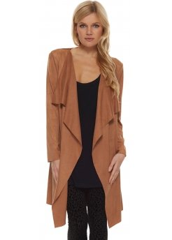Tan Suedette Coat With Waterfall Front