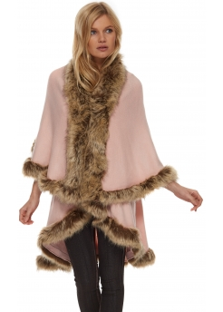 Double Layered Baby Pink Tonal Faux Fur Trim Poncho