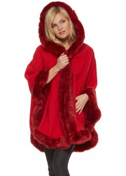 Fabulous Red Hooded Cape With Faux Fur Trim