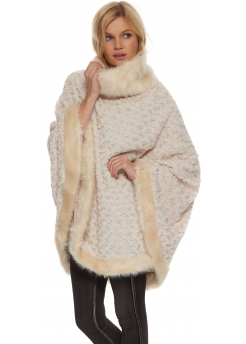 Cream Textured Thick Faux Fur Polo Poncho