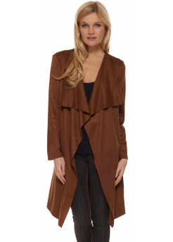 Chocolate Brown Suedette Coat With Waterfall Front