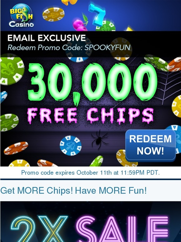 Big fish games 30 000 free chips plus 2x sale milled for Big fish casino free chips promo code
