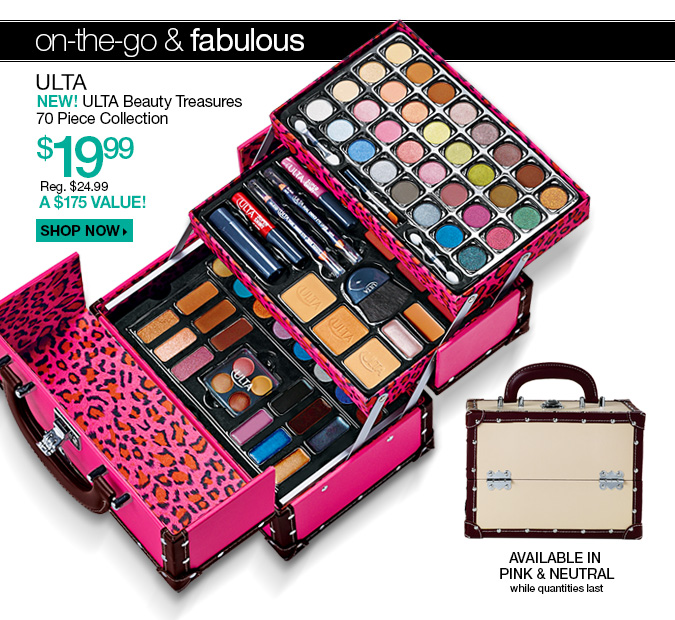 ULTA New! Beauty Treasures 70 Piece Collection $19.99 - Reg. $24.99. A $175 Value! Shop Now. Available in Pink & Neutral - while quantities last!