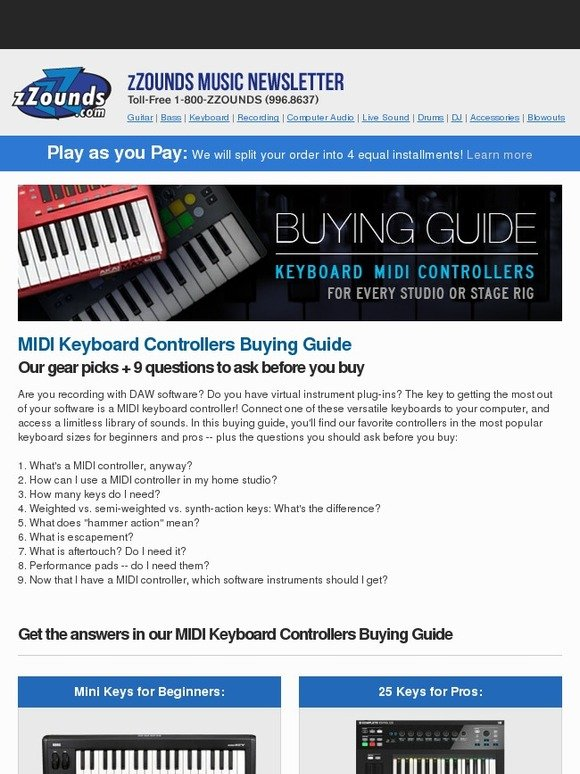 zZounds: Buying Guide: MIDI Keyboard Controllers | Milled