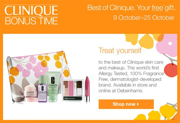 Wedding Gift List Debenhams: Debenhams: Your FREE Clinique Bonus Time Gift!