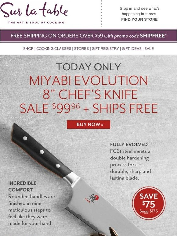 Sur la Table: Today Only: $75 Off Miyabi Chef's Knife +
