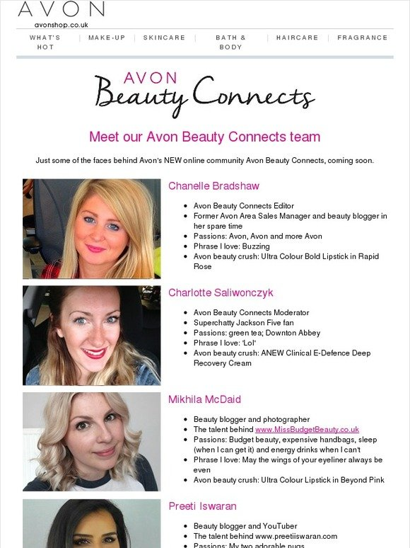 Avon UK: Avon Beauty Connects launches soon: Meet the team! | Milled