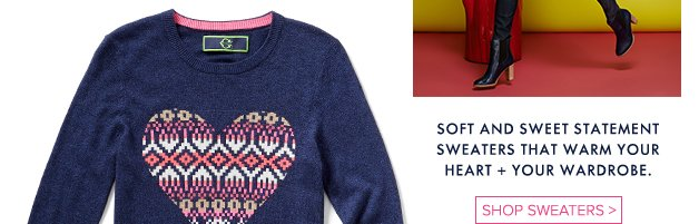 Soft and sweet statement sweaters that warm your heart + your wardrobe.