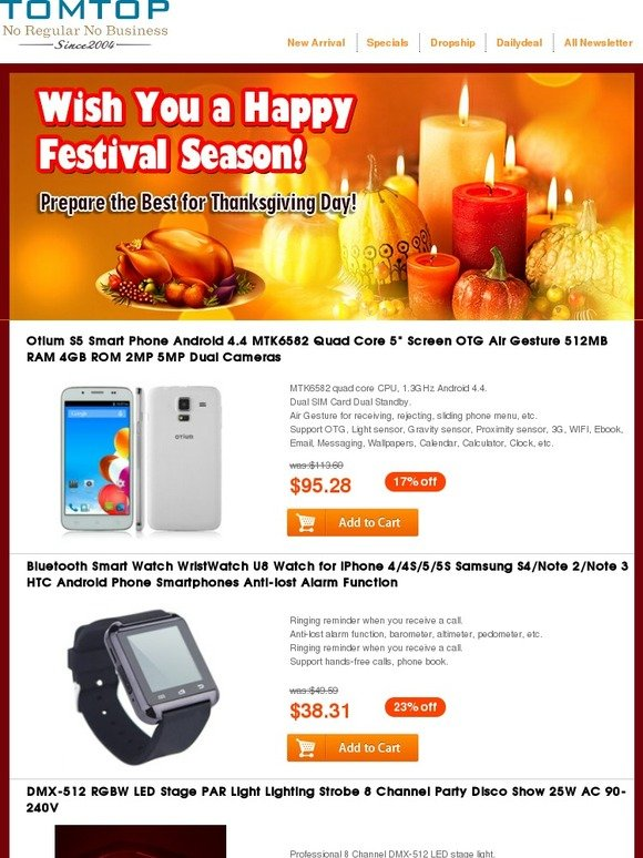 TOMTOP: Dear , Prepare the Best for Thanksgiving Day! Up to 31% off
