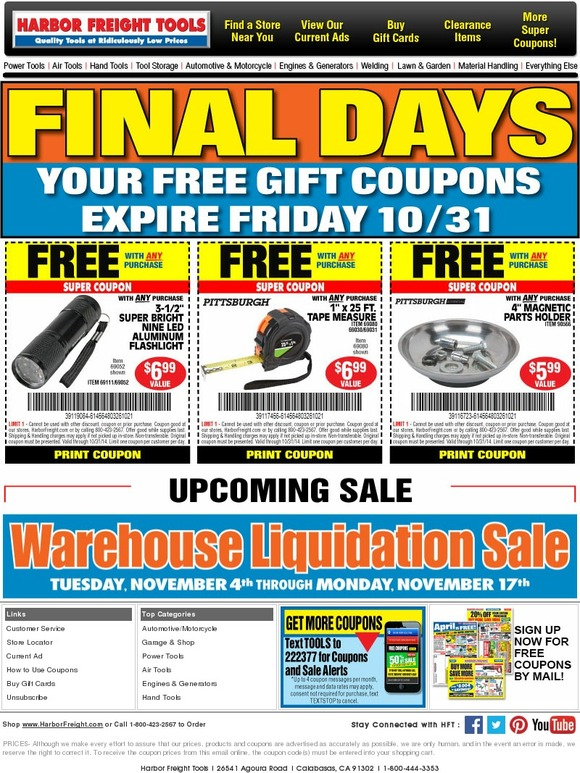 harbor freight  only one day left