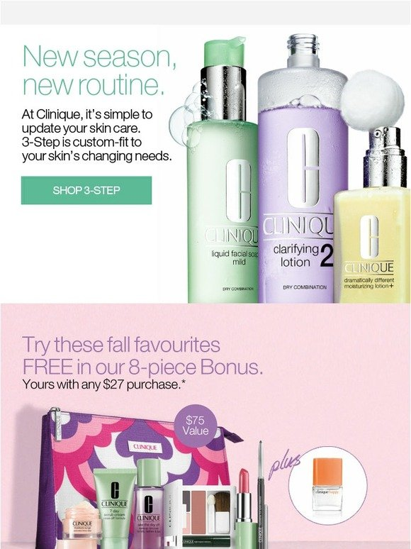 Clinique: Fall skin care greats FREE in your bonus. | Milled