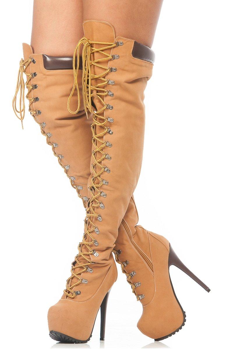 caf7c7536c25 Tan Faux Nubuck Stylish Thigh High Chunky Platform Boots
