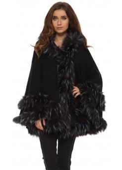Double Layered Hooded Faux Fur White Tipped Poncho