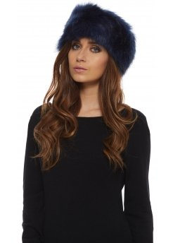 Navy Thick Fluffy Faux Fur Headband