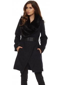 Black Faux Fur Oversized Collar Belted Coat