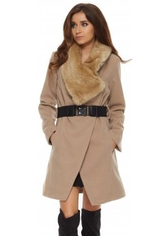 Caramel Faux Fur Oversized Collar Belted Coat