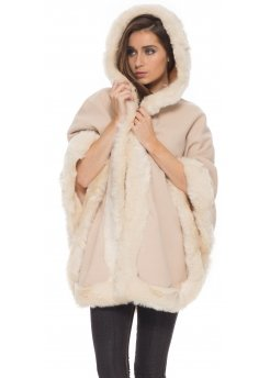 Cream Hooded Poncho Coat With Faux Fur Trim