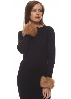 Thick Light Brown Fluffy Faux Fur Cuffs