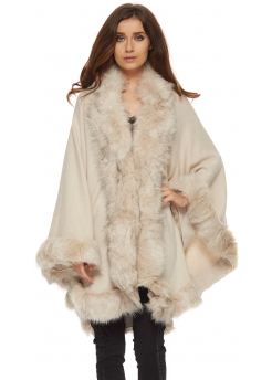 Soft Beige Fully Trimmed Faux Fur Knitted Cape