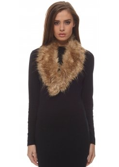 Brown Soft Fluffy Tousled Faux Fur Collar