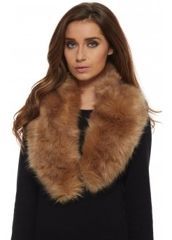 Light Brown Thick Soft Fluffy Faux Fur Collar