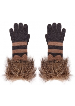 Charcoal & Beige Stripe Gloves With Faux Fur Cuffs