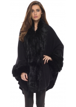 Black Soft Faux Fur Knitted Swing Cape