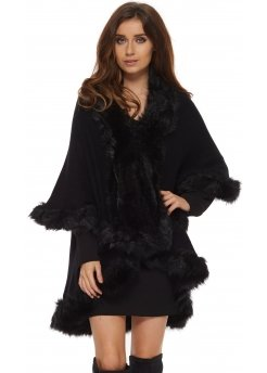 Double Layered Full Black Faux Fur Trim Poncho