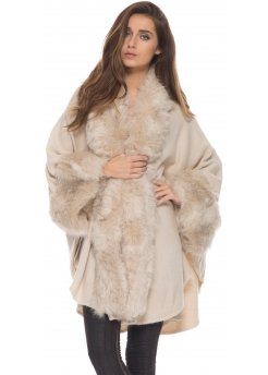 Nude Beige Soft Faux Fur Knitted Swing Cape