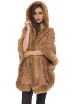 Fabulous Caramel Hooded Cape With Faux Fur Trim
