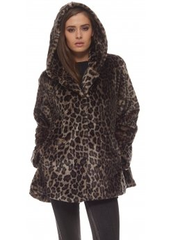 Leopard Print Soft Faux Fur Hooded Short Swing Coat